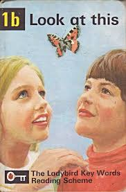 """image shows a cover of a peter and jane book from the 60s. a blonde girl and a brown haired boy look up at a butterfly that hovers in the air between them. The title of the book is """"Look at this"""""""